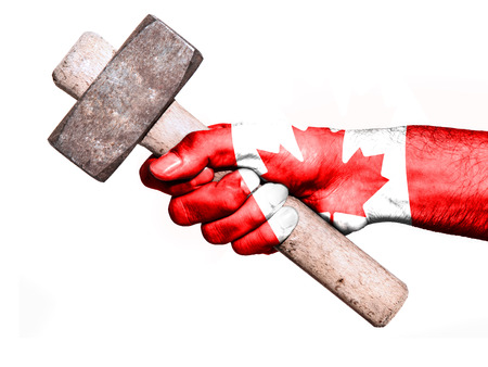 work workman: National flag of Canada overprinted the hand of a man handling a heavy hammer isolated on a white background. Conceptual image for work, job, workman
