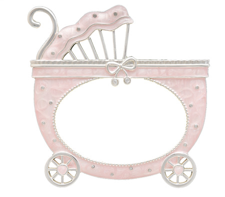background design: A baby carriage shaped photo frame isolated on a white background. Can be used for newborn baby girls or baptism events