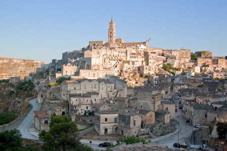 unesco world heritage site: View of the stones and the city of Matera. Matera is a city and a province in the region of Basilicata, in southern Italy and its stones are a Unesco World Heritage site.