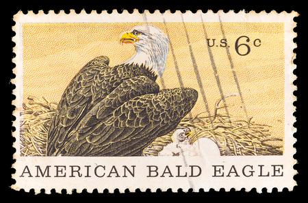 poststempel: UNITED STATES OF AMERICA - CIRCA 1970: Eine Briefmarke in USA gedruckt zeigt einen amerikanischen Bald Eagle, nationales Symbol der USA, in das Nest mit einem Küken. Sonderbriefmarke für die Centenary of American Natural History Museum, circa 1970 Editorial