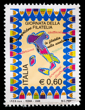 philately: ITALY - CIRCA 2008: A postage stamp printed in Italy shows the italian peninsula, issued for the day of the philately, circa 2008