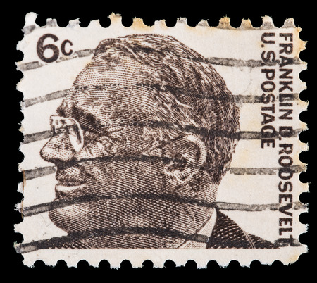 roosevelt: UNITED STATES OF AMERICA - CIRCA 1966: A postage stamp printed in United States shows Franklin D. Roosevelt, 32th President of USA, circa 1966