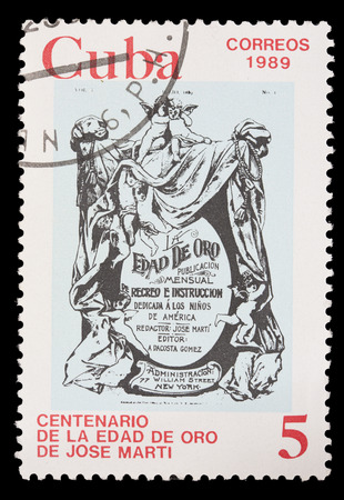 golden age: CUBA - CIRCA 1989: A postage stamp printed in Cuba shows the cover of the the Golden Age, the book of Jose Martis , circa 1989 Editorial
