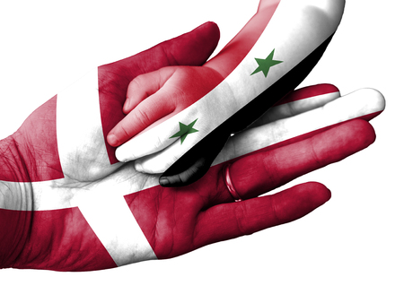 aiding: Flag of Denmark overlaid the hand of an adult man holding a baby hand with the flag of Syria overprinted. Conceptual image for help, aid, assistance, rescue. Isolated on white background Stock Photo