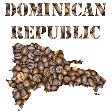 geographical: Roasted brown coffee beans background with the shape of the word Dominican Republic and the country geographical map outline. Image isolated on a white background.