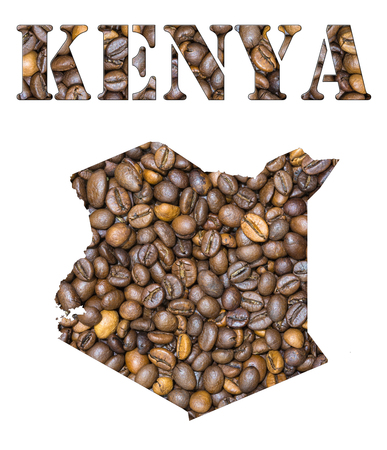 geographical: Roasted brown coffee beans background with the shape of the word Kenya and the country geographical map outline. Image isolated on a white background.