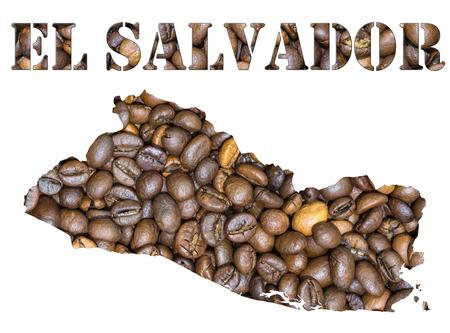 mapa de el salvador: Fondo asado de los granos de caf� marr�n con la forma de la palabra El Salvador y el pa�s geogr�fica mapa de contorno. Imagen aislada en un fondo blanco. Foto de archivo