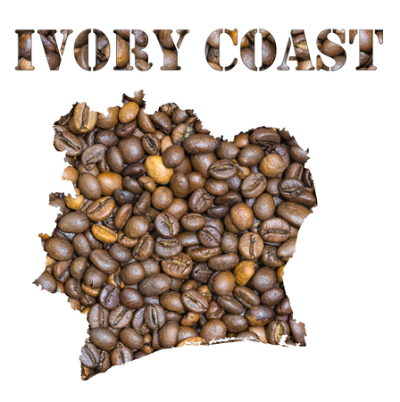 geographical: Roasted brown coffee beans background with the shape of the word Ivory Coast and the country geographical map outline. Image isolated on a white background.