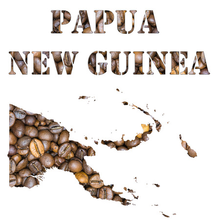 geographical: Roasted brown coffee beans background with the shape of the word Papua New Guinea and the country geographical map outline. Image isolated on a white background.