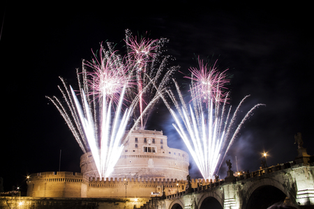 feast: Castel Sant Angelo in Rome, Italy, celebration with fireworks during the traditional show staged on the occasion of the Feast of Saints Peter and Paul on 29 June