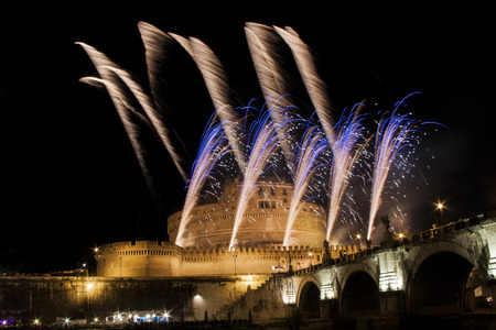 feast: Fireworks show over Castel Sant Angelo in Rome, Italy, during the traditional show staged on the occasion of the Feast of Saints Peter and Paul on 29 June Editorial