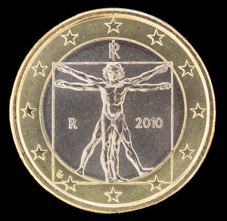 illustrate: National side of one euro coin issued by Italy isolated on a black background. The italian obverse face depicts the vitruvian man drawn by Leonardo da Vinci to illustrate ideal proportions of human body