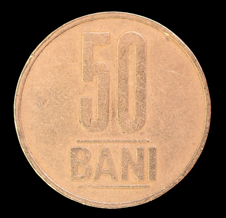bani: The tail face of 50 bani coin, issued by Romania in 2006. Image isolated on black background