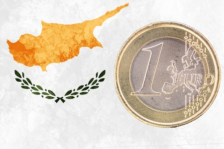 cypriot: Common face of one euro coin from Cyprus isolated on the national cypriot flag as background