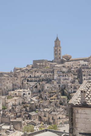 unesco world heritage site: View of the stones and the city of Matera, Italy. Matera is a city in the region of Basilicata, in southern Italy and its stones are a Unesco World Heritage site.