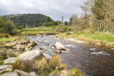 dwellings: View of the ruins of Glendalough in the Wicklow Mountains, Ireland. Ruins include seven churches, a cathedral, several dwellings and a round tower