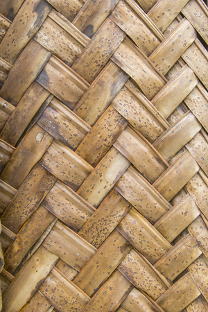 interweaving: Close-up of brown ripe palm leaves in wattled pattern. This interweaving technique is known as makuti in east africa Stock Photo