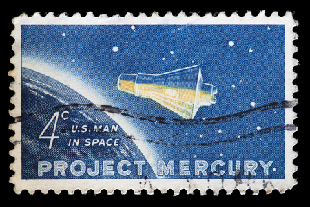 spaceflight: UNITED STATES OF AMERICA - CIRCA 1962: A used postage stamp printed in United States shows the Mercury space capsule used for the Project Mercury, the first human spaceflight program of the USA, circa 1962. The project was completed with success and both  Editorial