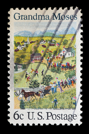 used stamp: UNITED STATES OF AMERICA - CIRCA 1964: A used postage stamp printed in United States shows homemade stitchwork depicting people, buildings, animals with pets and birds, circa 1964