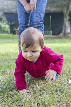 one year old: One year old baby girl looking at grass while crawling in garden Stock Photo