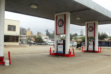 salam: ARUSHA, TANZANIA - JUNE 06: gas pump of the Panone and company limited on June 06, 2013 in Arusha. This fuel stations and fuel transport company is based in Dar es Salam Tanzania Editorial