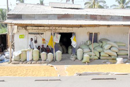 mwanza: MWANZA, TANZANIA - JUNE 11: bags of maize and rice outside a local store on June 11, 2013 in Mwanza