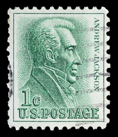 andrew: UNITED STATES OF AMERICA - CIRCA 1963: A used postage stamp printed in United States shows a portrait of the President Andrew Jackson on green background, circa 1963