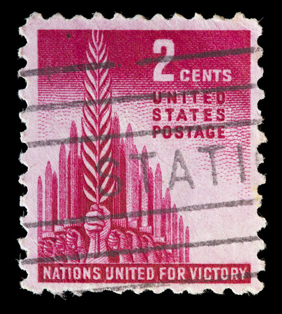 allied: UNITED STATES OF AMERICA - CIRCA 1943: A used postage stamp printed in United States representing the Battle of allied forces and the words Nations United for Victory, circa 1943 Editorial