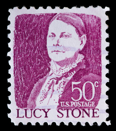 famous women: UNITED STATES OF AMERICA - CIRCA 1968: A used postage stamp printed in United States shows a portrait of Lucy Stone, famous for women rights and abolishment of slavery, on pink background, circa 1968