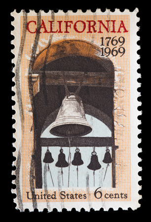 colonization: UNITED STATES OF AMERICA - CIRCA 1969: A used postage stamp printed in United States issued for the colonization of California Y, circa 1969