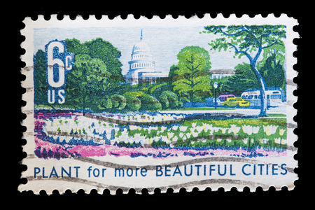 beautification: UNITED STATES OF AMERICA - CIRCA 1969: A used postage stamp printed in United States shows an ornamental garden to encourage the beautification of cities with the slogan Plant for more beautiful cities, circa 1969