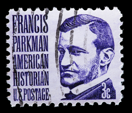 historian: UNITED STATES OF AMERICA - CIRCA 1975: A used postage stamp printed in United States shows a portrait of the historian and author Francis Parkman, circa 1975