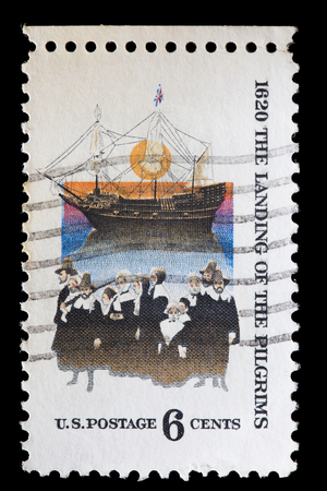 colonization: UNITED STATES OF AMERICA - CIRCA 1970: A used postage stamp printed in United States shows the Mayflower, the ship that transported the first Pilgrims to the New World, circa 1970
