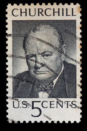 minister of war: UNITED STATES OF AMERICA - CIRCA 1965: A used postage stamp printed in United States shows a portrait of the British Prime Minister Sir Winston Churchill, circa 1965