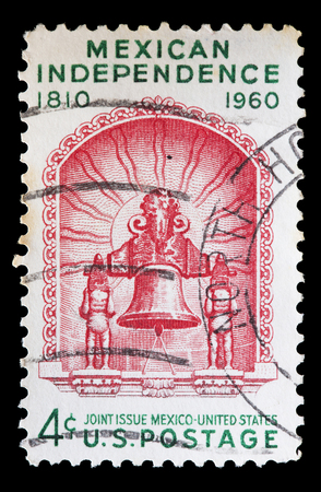 used stamp: UNITED STATES OF AMERICA - CIRCA 1960: A used postage stamp printed in United States issued for the anniversary of Mexican Independence, circa 1960 Editorial