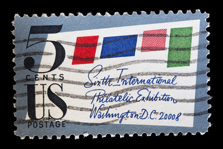 philatelic: UNITED STATES OF AMERICA - CIRCA 1966: A used postage stamp printed in United States shows an envelope to commemorate the Sixth International Philatelic Exhibition in Washington D.C., circa 1966 Editorial