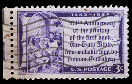 gutenberg: UNITED STATES OF AMERICA - CIRCA 1952: A used postage stamp printed in United States shows a reproduction from the first printed Bible in 1452, first major book printed using mass-produced movable type by Johannes Gutenberg, circa 1952