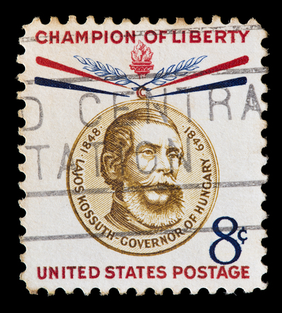 governor: UNITED STATES OF AMERICA - CIRCA 1959: A used postage stamp printed in United States shows a portrait of the Governor of Hungary Lajos Kossuth, series of Freedom Fighters Champions, circa 1959