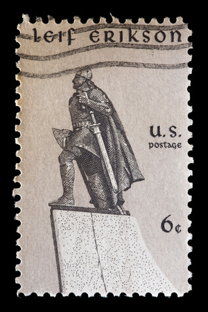 erikson: UNITED STATES OF AMERICA - CIRCA 1968: A used postage stamp printed in United States shows a representation of Leif Erikson, circa 1968. He an Icelandic viking explorer considered by some as the first European to land in North America
