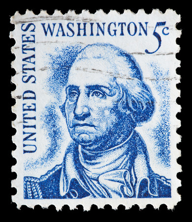 george washington: UNITED STATES OF AMERICA - CIRCA 1966: A used postage stamp printed in United States shows a portrait of the President George Washington on blue background, circa 1966 Editorial
