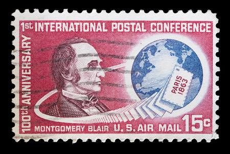 montgomery: UNITED STATES OF AMERICA - CIRCA 1963: A used postage stamp printed in United States shows a portrait of Montgomery Blair to commemorate the 100 Years of the First International Postal Conference, circa 1963