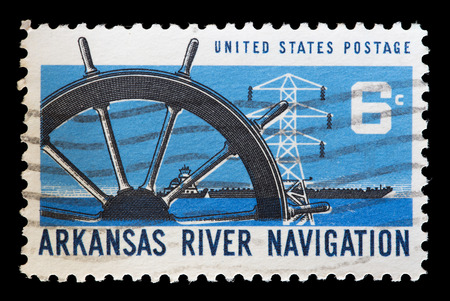 fluvial: UNITED STATES OF AMERICA - CIRCA 1968: A used postage stamp printed in United States shows boats on the Arkansas River as part of the inland waterway navigation system on Oklahoma, Arkansas and Mississippi Rivers, circa 1968