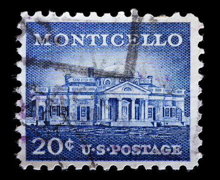 used stamp: UNITED STATES OF AMERICA - CIRCA 1956: A used postage stamp printed in United States shows Monticello, the primary plantation of the President Thomas Jefferson located just outside Charlottesville, Virginia, circa 1956