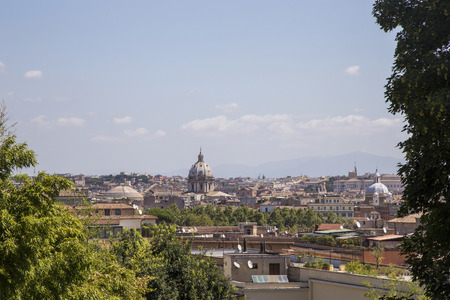 basilica of saint peter: Cityscape of Rome Italy in sunlight with Saint Peter Basilica in the background