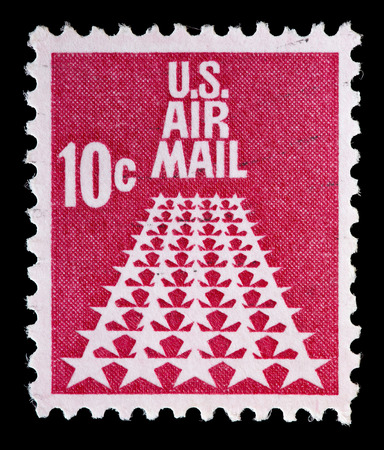used stamp: UNITED STATES OF AMERICA - CIRCA 1968: A used air mail postage stamp printed in United States shows 50 stars runway, circa 1968 Editorial