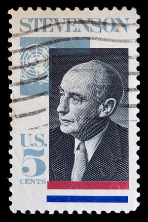 diplomat: UNITED STATES OF AMERICA - CIRCA 1965: A used postage stamp printed in United States shows a portrait of the politician and diplomat Adlai Stevenson, circa 1965