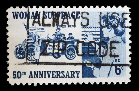 suffrage: UNITED STATES OF AMERICA - CIRCA 1970: A used postage stamp printed in United States shows women voting to celebrate the anniversary of womens suffrage giving them right to vote in elections, circa 1970 Editorial
