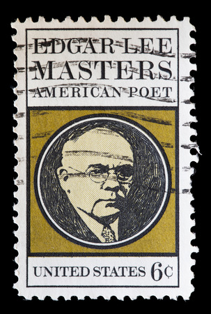 dramatist: UNITED STATES OF AMERICA - CIRCA 1970: A used postage stamp printed in United States shows a portrait of the American poet Edgar Lee Masters, circa 1970 Editorial