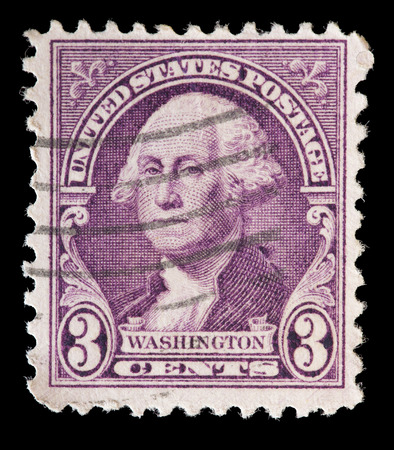 george washington: UNITED STATES OF AMERICA - CIRCA 1932: A used postage stamp printed in United States shows a portrait of the President George Washington on violet background, circa 1932