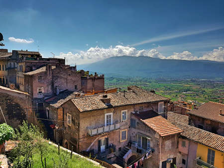 Anagni roofs with mountains and clouds on the horizon. Stok Fotoğraf